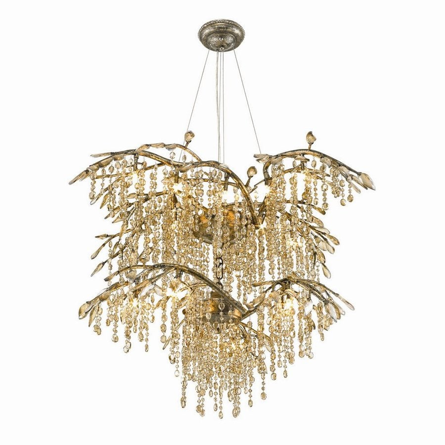 golden lighting chandelier. Golden Lighting Autumn Twilight 40-in 18-Light Mystic Gold Crystal Waterfall Chandelier H