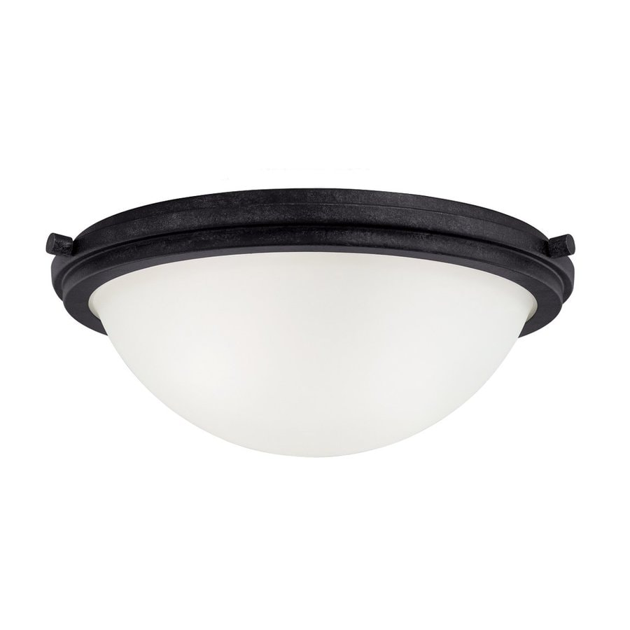 Sea Gull Lighting Winnetka 14-in W Blacksmith Flush Mount Light