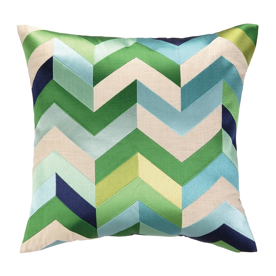 Peking Handicraft Arrowhead 20-in W x 20-in L Green/Blue Indoor Decorative Pillow