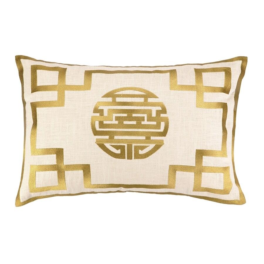 Peking Handicraft Double Happiness 14-in W x 20-in L Citron Rectangular Indoor Decorative Pillow