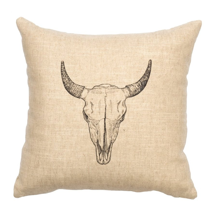 Wooded River Bull Skull 16-in W x 16-in L Indoor Decorative Pillow