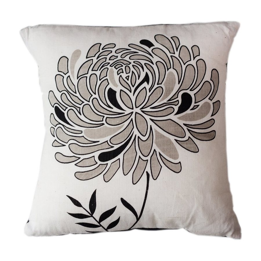 Sustainable Threads Lunar Dahlia 12-in W x 12-in L Black/White Square Indoor Decorative Pillow