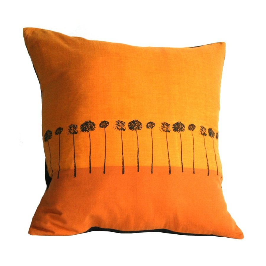Sustainable Threads Sunbound Stems 12-in W x 12-in L Tumeric Indoor Decorative Pillow