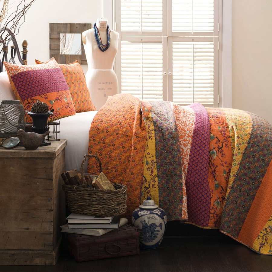 Lush Decor Royal Empire 3-Piece Tangerine Full/Queen Quilt Set