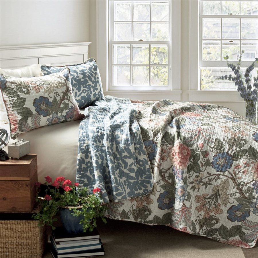 Lush Decor Sydney 3-Piece Green-Blue King Quilt Set