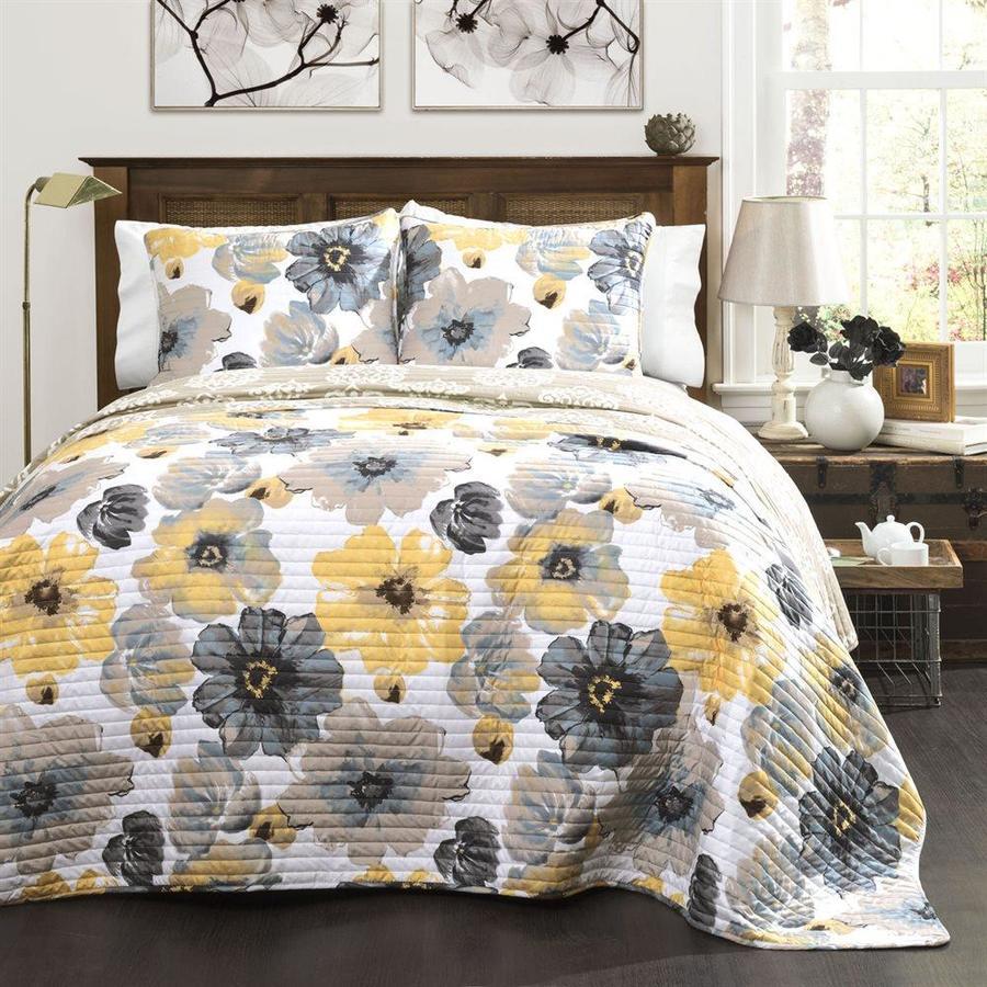 Lush Decor Leah 3-Piece Yellow-Gray Full/Queen Quilt Set