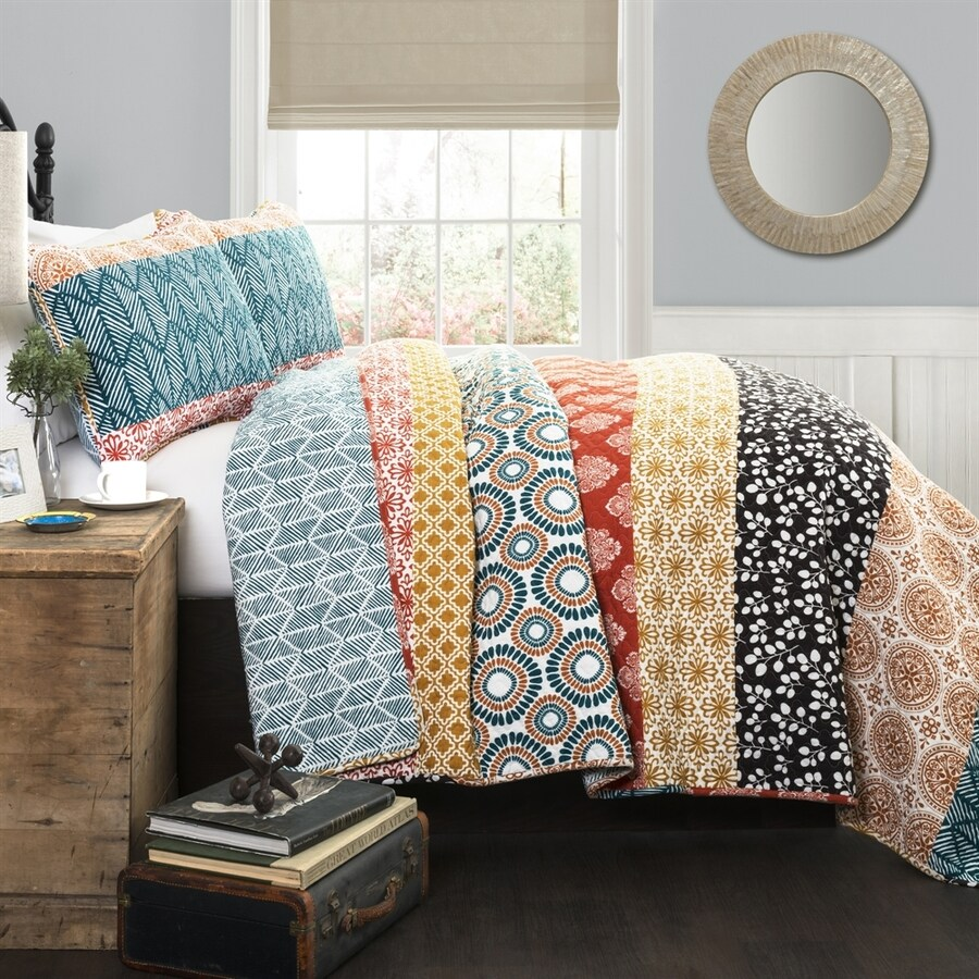 Lush Decor Bohemian 3-Piece Turquoise-Orange King Quilt Set