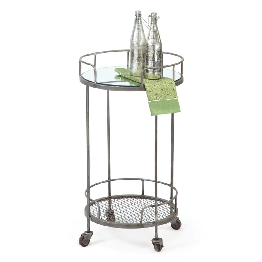 Go Home Black Industrial Kitchen Cart At Lowes Com: GO Home Hip Vintage Gray Round Kitchen Cart At Lowes.com