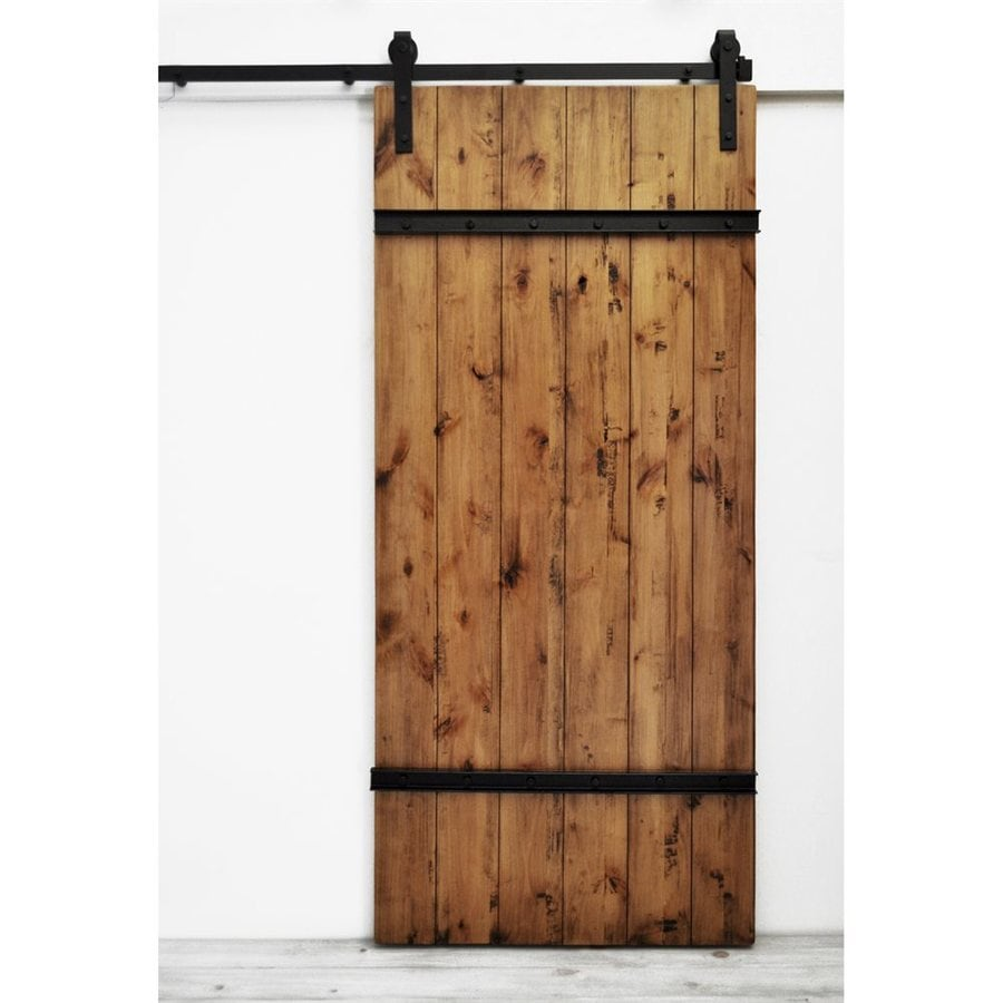 Dogberry Collections Drawbridge Stained Knotty Alder Barn Interior Door with Hardware (Common 36-  sc 1 st  Loweu0027s : hardwood door - pezcame.com