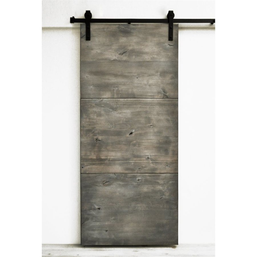 Dogberry Collections Modern Slab Stained Solid Core 1-Panel Knotty Alder Barn Interior Door (Common: 36-in x 82-in; Actual: 36-in x 82-in)