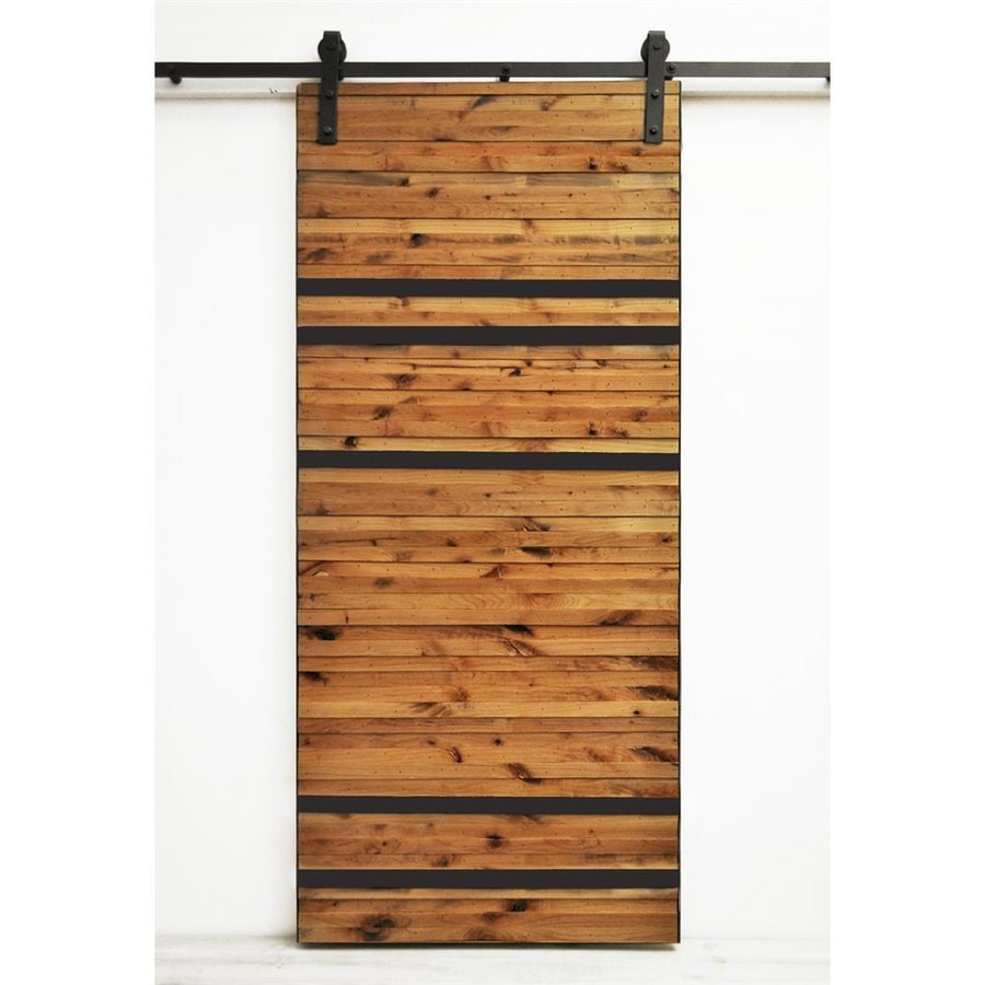 Dogberry Collections Line 'Em Up Stained Solid Core 1-Panel Knotty Alder Barn Interior Door (Common: 36-in x 82-in; Actual: 36-in x 82-in)