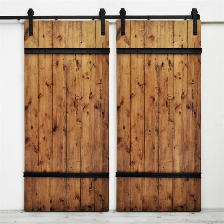 Dogberry Collections Drawbridge Stained Knotty Alder Barn Interior Door with Hardware (Common 72- : hardwood door - pezcame.com