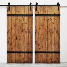 Dogberry Collections Drawbridge Stained Knotty Alder Barn Interior Door  With Hardware (Common: 72