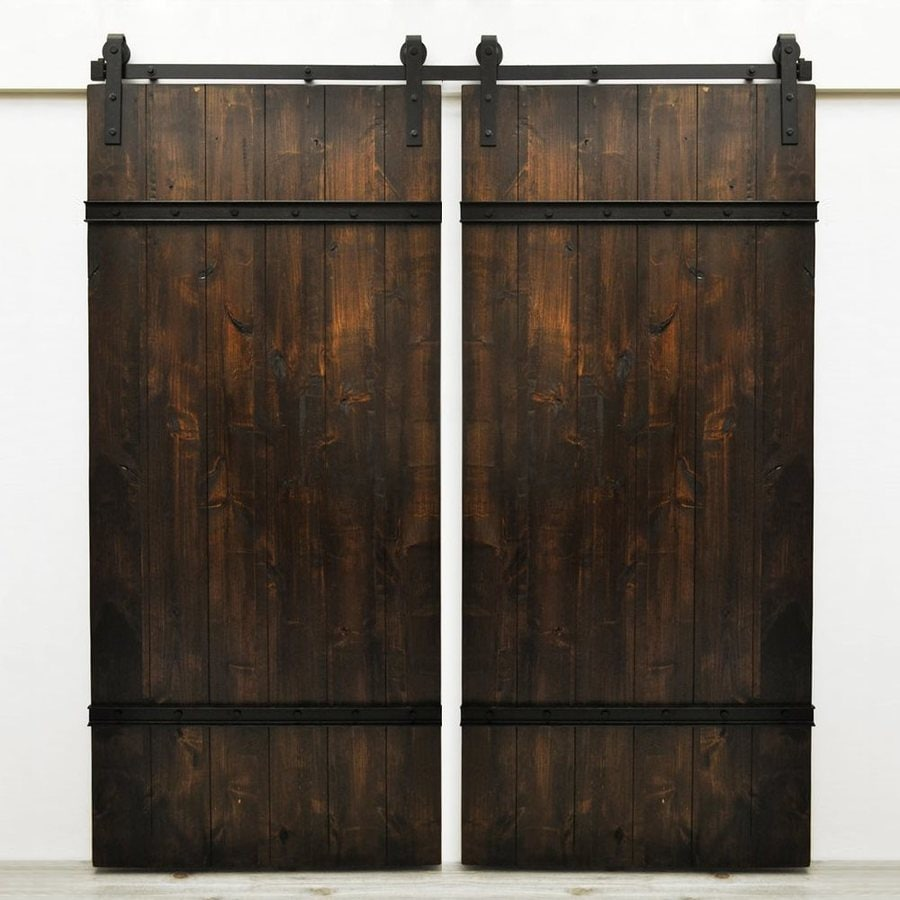 Dogberry Collections Drawbridge Set of 2 Stained Solid Core 1-Panel Knotty Alder Barn Interior Doors (Common: 72-in x 82-in; Actual: 72-in x 82-in)