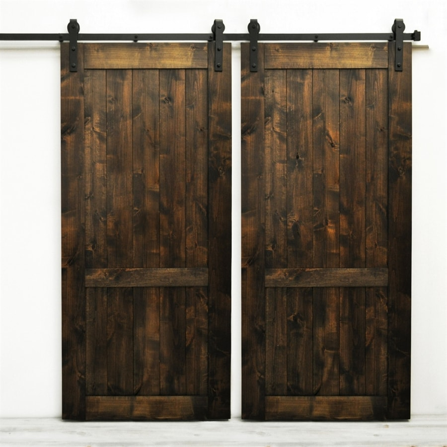 Dogberry Collections Country Vintage Set of 2 Stained Solid Core 1-Panel Knotty Alder Barn Interior Doors (Common: 72-in x 82-in; Actual: 72-in x 82-in)
