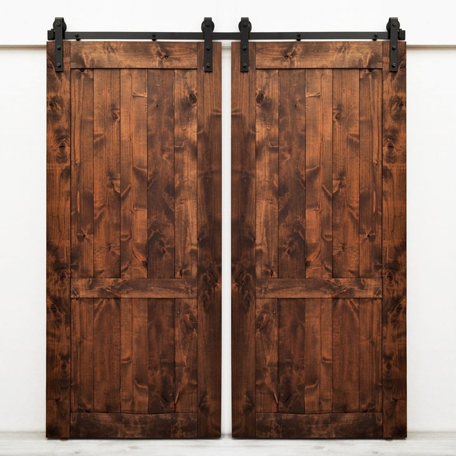 Dogberry Collections Country Vintage Walnut Stain 2-Panel Square Wood Solid Core Barn Door with & Shop Dogberry Collections Country Vintage Walnut Stain 2-Panel ...