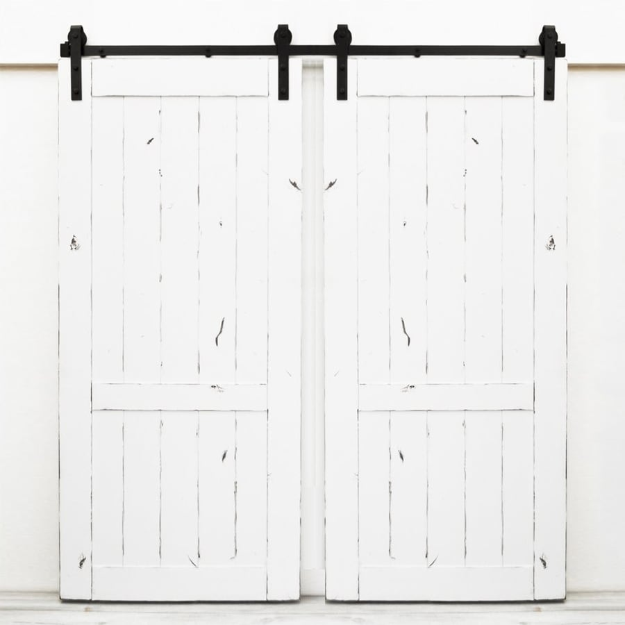 Dogberry Collections Country Vintage White Knotty Alder Barn Interior Door with Hardware (Common: 72-in x 82-in; Actual: 72-in x 82-in)