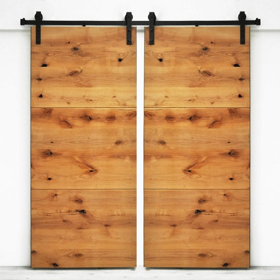 Dogberry Collections Modern Slab Set of 2 Stained Solid Core 1-Panel Knotty Alder Barn Interior Doors (Common: 72-in x 82-in; Actual: 72-in x 82-in)