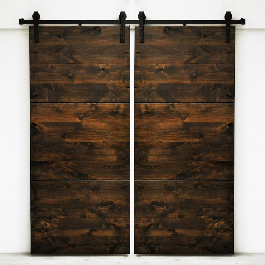 Dogberry Collections Modern Slab Stained Knotty Alder Barn Interior Door with Hardware (Common: 72-in x 82-in; Actual: 72-in x 82-in)