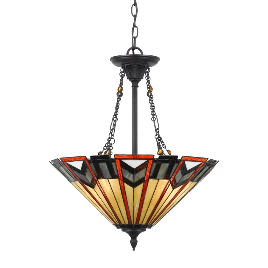 Quoizel 20-in Valiant Bronze Tiffany-Style Single Stained Glass Bowl Pendant