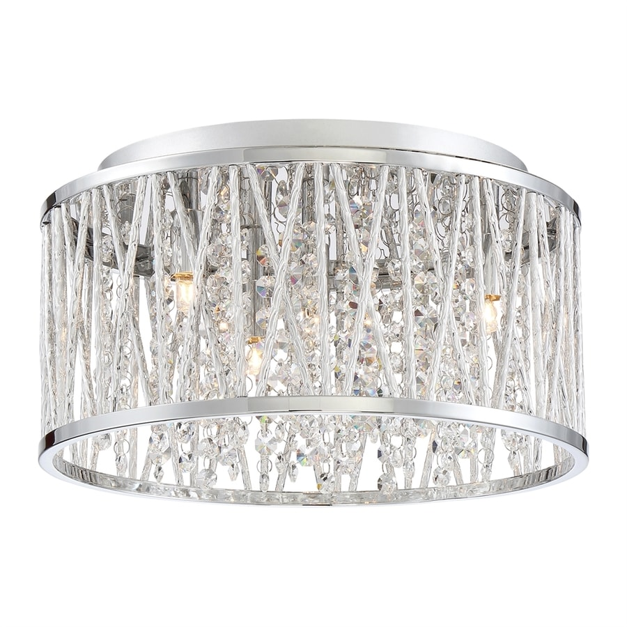 Quoizel Platinum Crystal Cove 13.5-in W Polished Chrome Crystal Accent Flush Mount Light