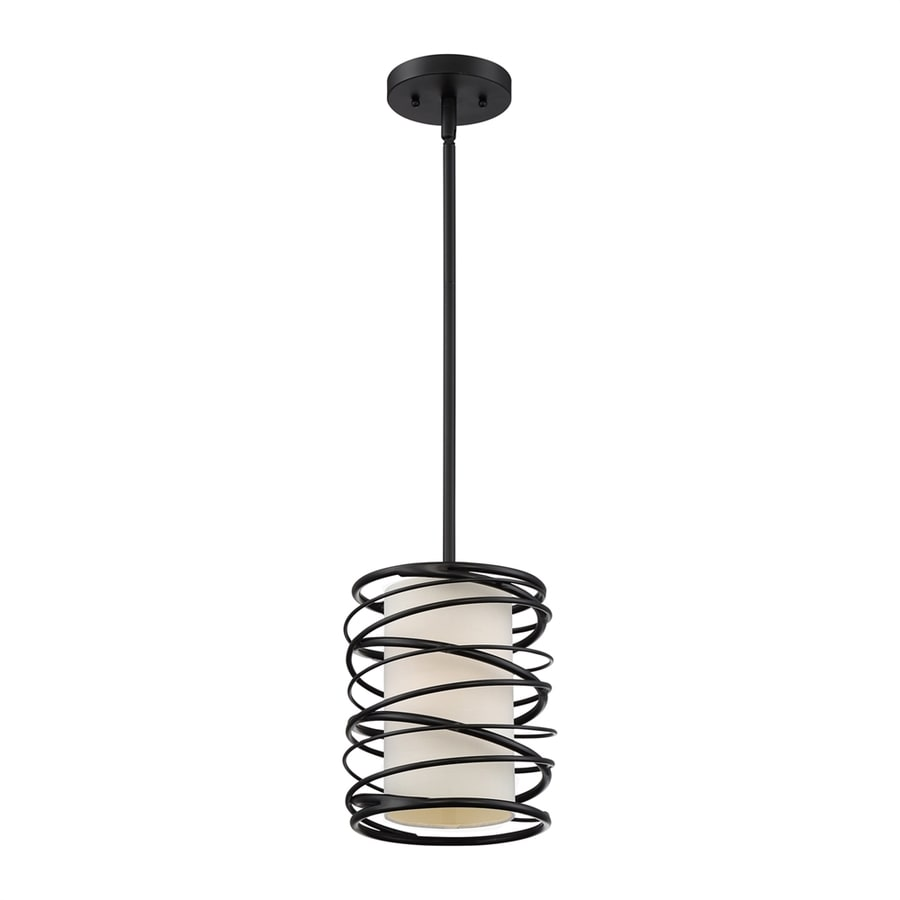 Quoizel Spiral 8.1-in Mystic Black Mini Etched Glass Cylinder Pendant