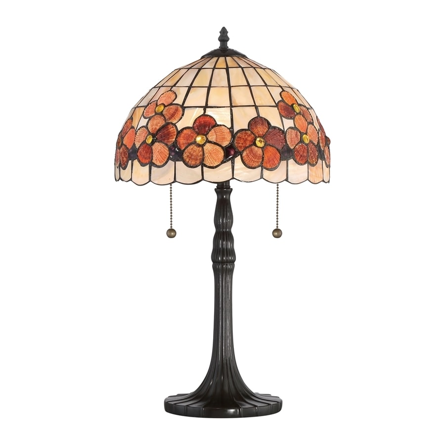 Quoizel Captiva 22.5-in Vintage Bronze Table Lamp with Glass Shade