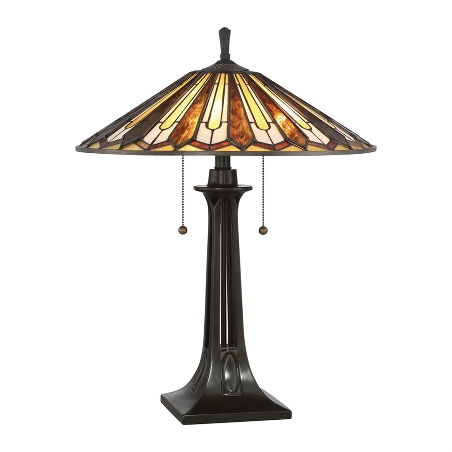 Quoizel Lance 25-in Vintage Bronze Table Lamp with Tiffany-Style Shade
