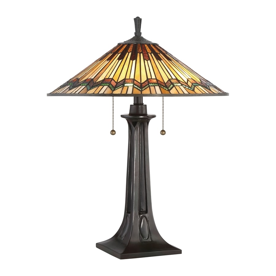 Quoizel Alcott 25-in Valiant Bronze Table Lamp with Tiffany-Style Shade