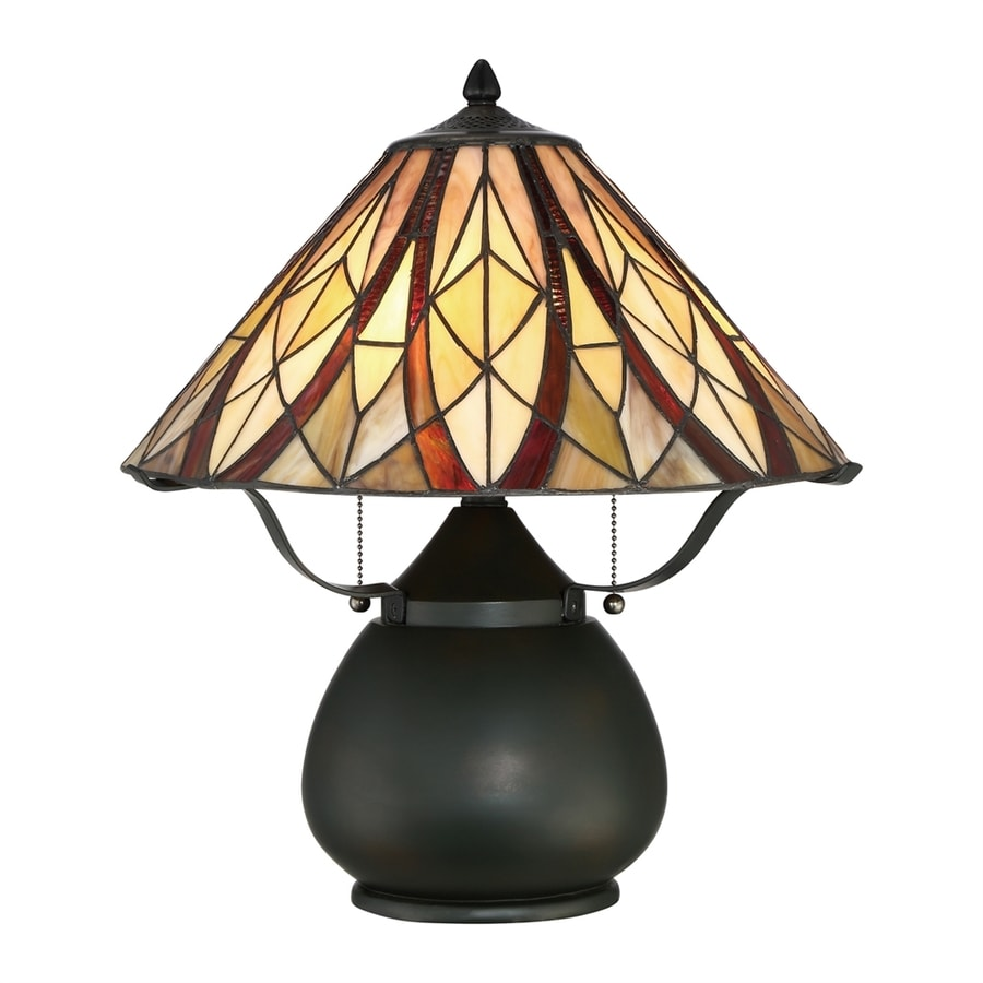 Quoizel Victory 19-in Valiant Bronze Table Lamp with Tiffany-Style Shade