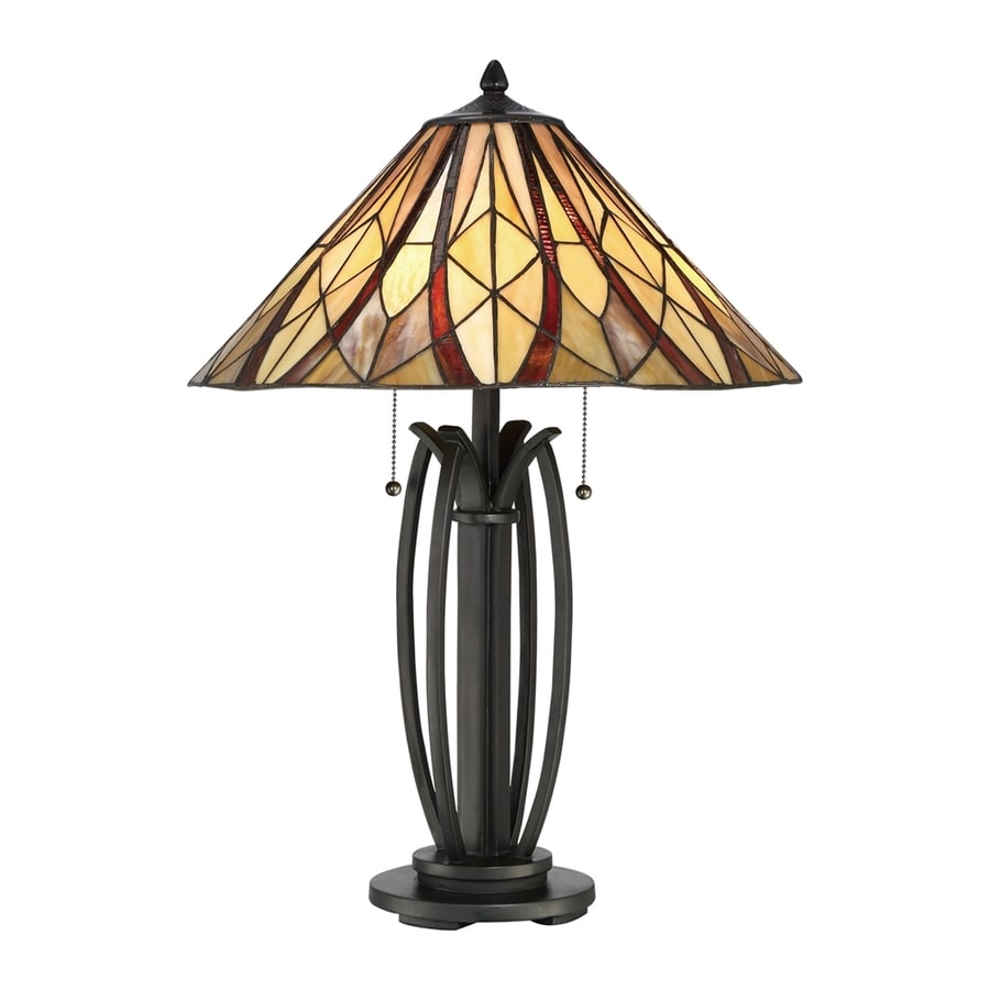 Quoizel Victory 25.5-in Valiant Bronze Table Lamp with Tiffany-Style Shade
