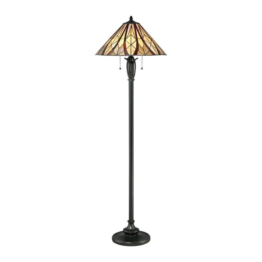 Quoizel Victory 58.5-in Valiant Bronze Pull-Chain Floor Lamp with Glass Shade