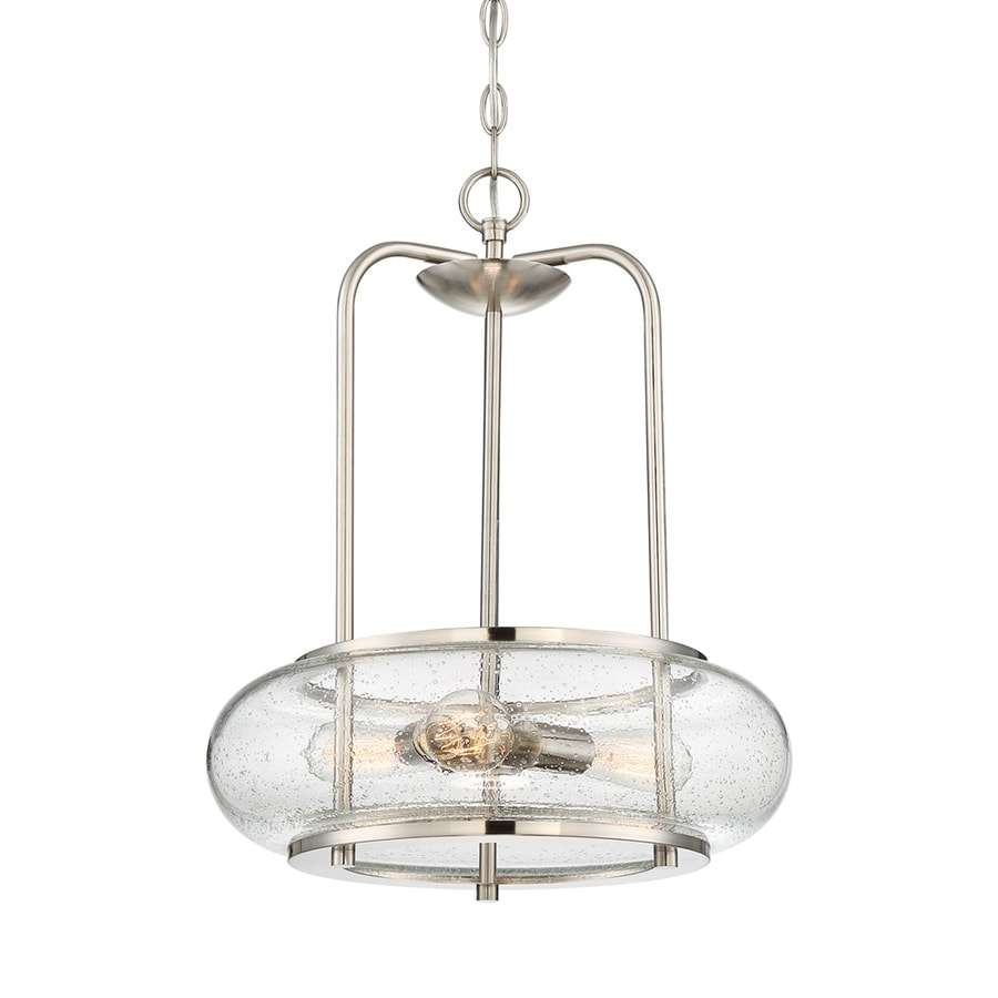 Quoizel Trilogy 16-in Brushed Nickel Vintage Single Clear Glass Drum Pendant