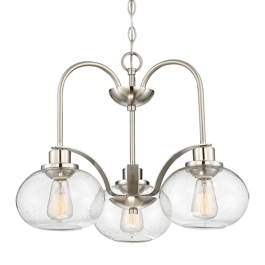 Quoizel Trilogy 16.5-in 3-Light Brushed Nickel Clear Glass Shaded Chandelier
