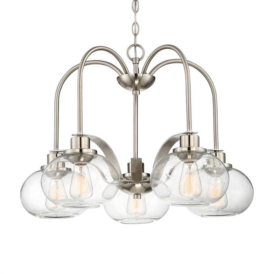 Quoizel Trilogy 261 In 5 Light Brushed Nickel Clear Glass Shaded Chandelier