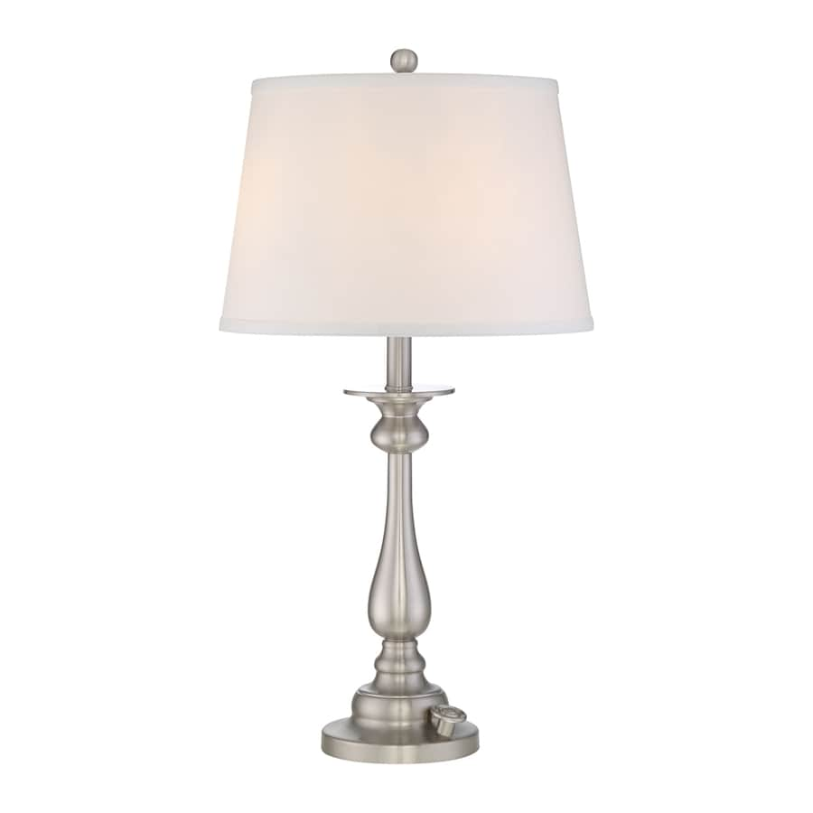 Quoizel Vivid Kingsley 28-in Brushed Nickel Table Lamp with Fabric Shade