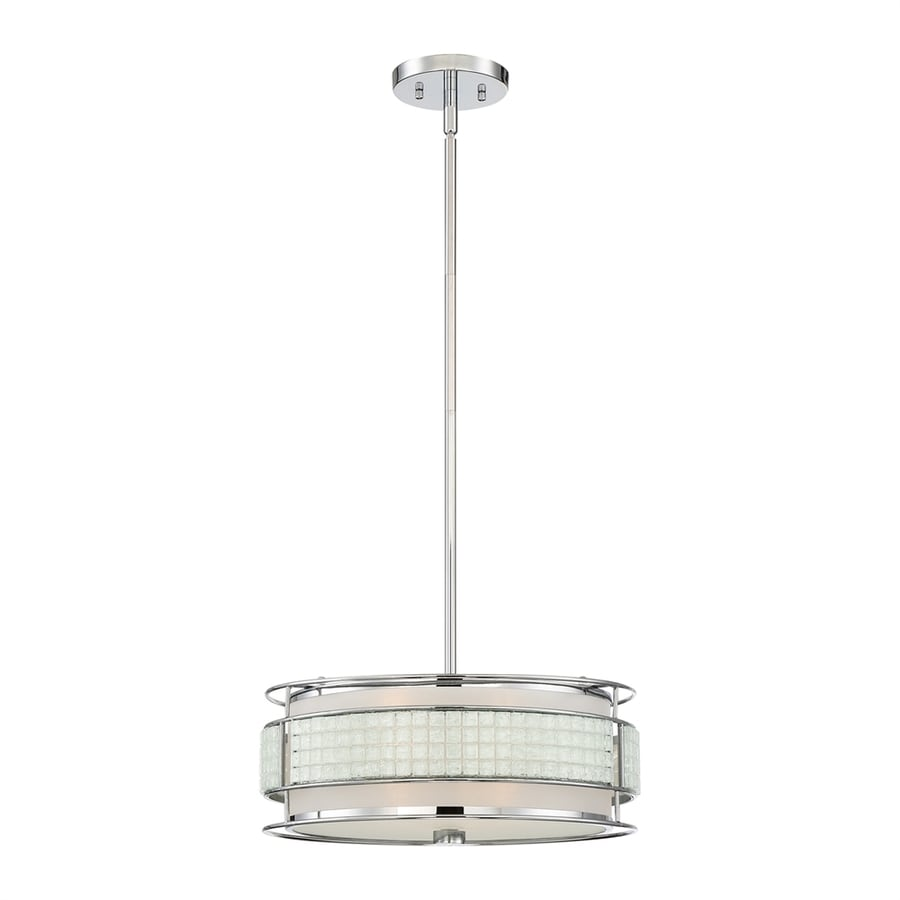 Quoizel Boundary 16-in Polished Chrome Craftsman Single Drum Pendant