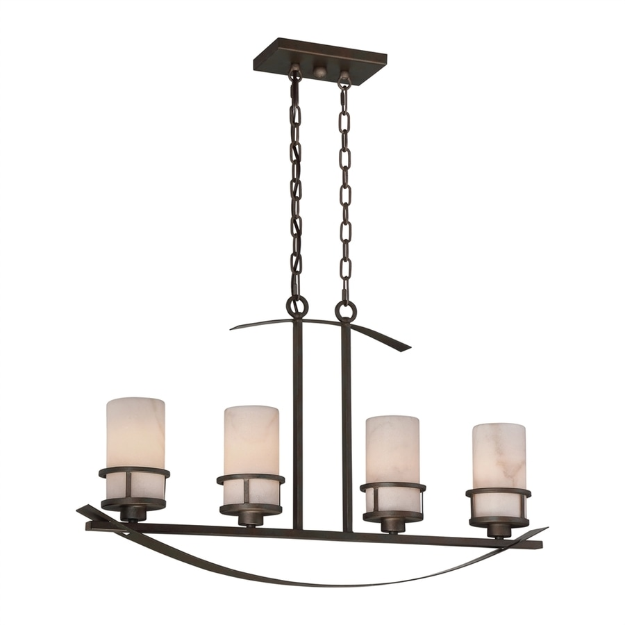Quoizel Kyle 4.5-in W 4-Light Iron Gate Kitchen Island Light with Alabaster Shades
