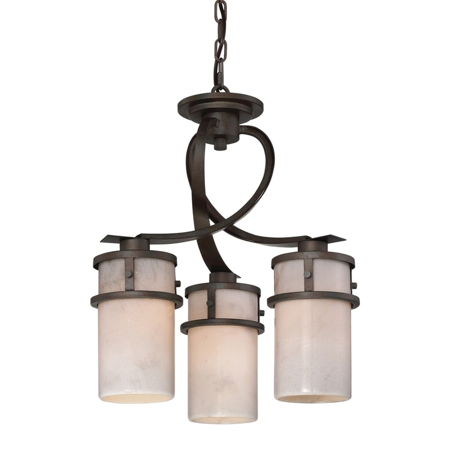 Quoizel Kyle 17-in 3-Light Iron Gate Craftsman Shaded Chandelier