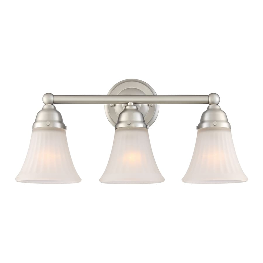 quoizel 3 light brushed nickel bell vanity light at. Black Bedroom Furniture Sets. Home Design Ideas