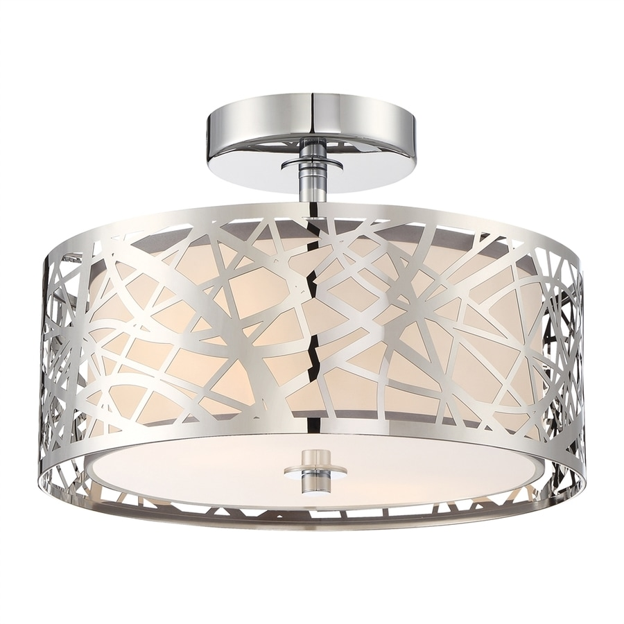 Quoizel Platinum Abode 12-in W Polished chrome Frosted Glass Semi-Flush Mount Light