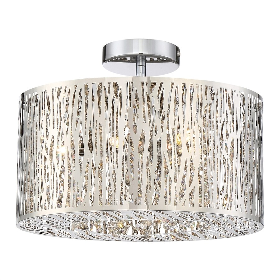 Quoizel Platinum Grotto 16-in W Polished chrome Crystal Semi-Flush Mount Light