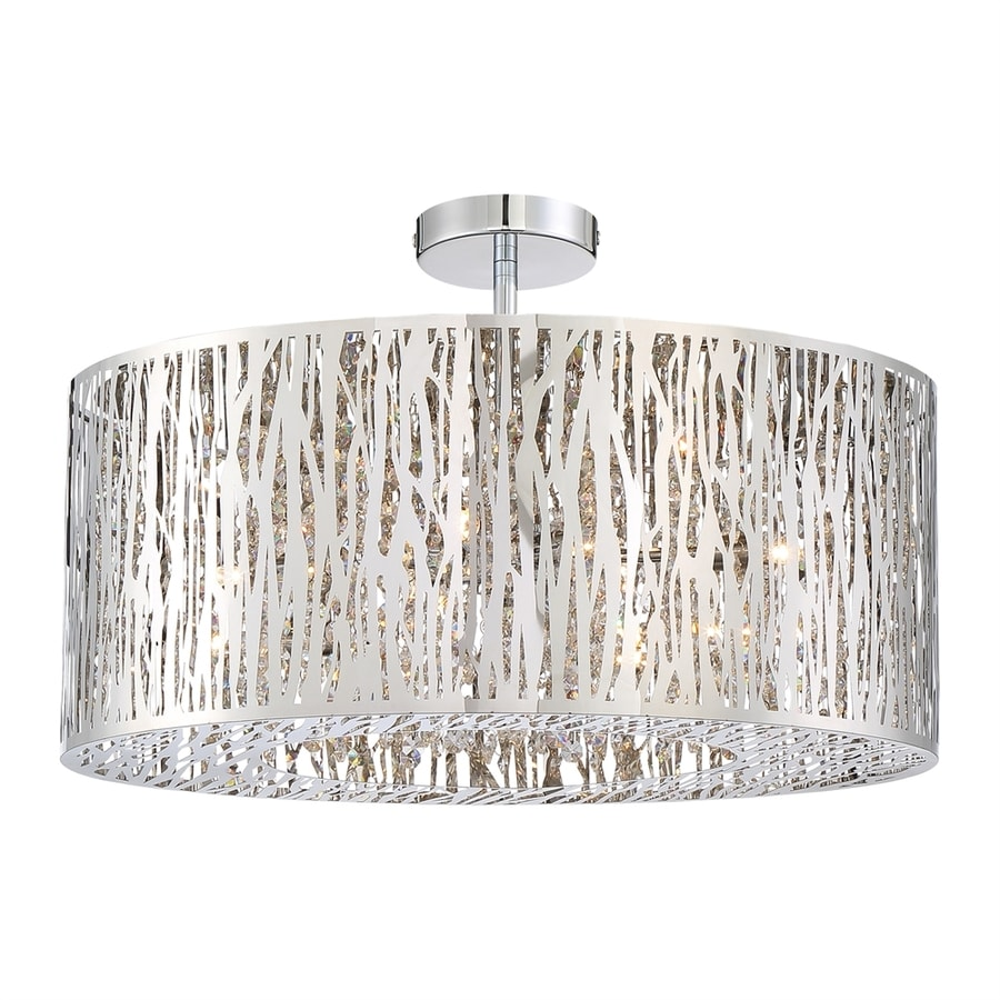 Quoizel Platinum Grotto 21.5-in W Polished Chrome Crystal Semi-Flush Mount Light