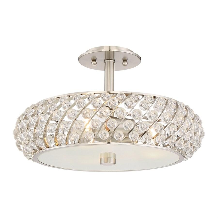 Quoizel Platinum Legion 16.5-in W Brushed Nickel Crystal Semi-Flush Mount Light