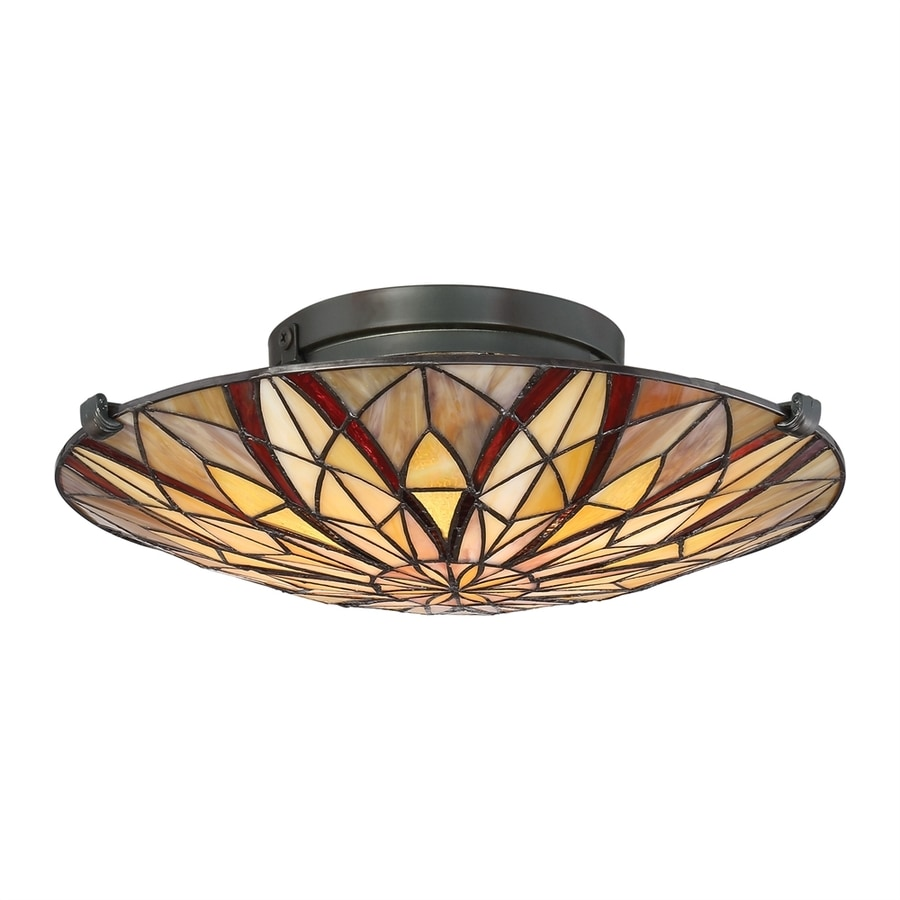 Quoizel Victory 16.25-in W Valiant Bronze Stained Tiffany-Style Semi-Flush Mount Light