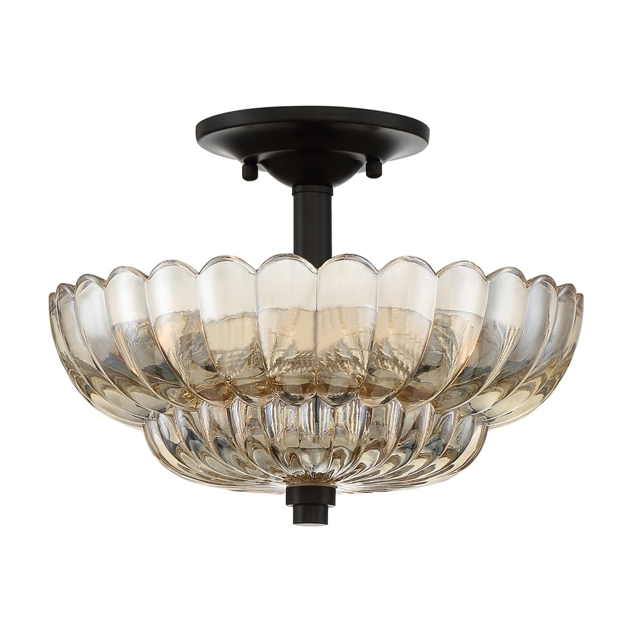 Quoizel Whitecap 11.75-in W Mottled Cocoa Clear Glass Semi-Flush Mount Light