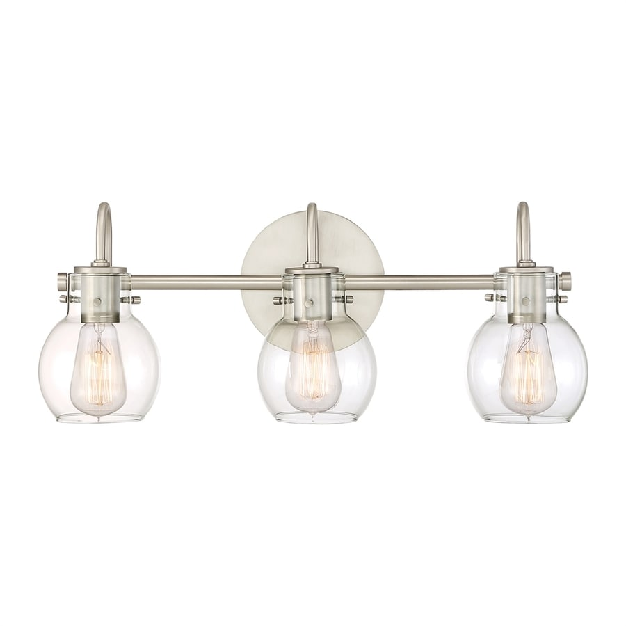 Teardrop Glass Vanity Light : Shop Quoizel Andrews 3-Light 9-in Antique nickel Teardrop Vanity Light at Lowes.com