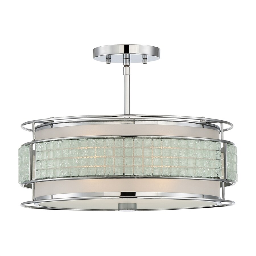 Quoizel Boundary 16.25-in W Polished Chrome Frosted Glass Semi-Flush Mount Light