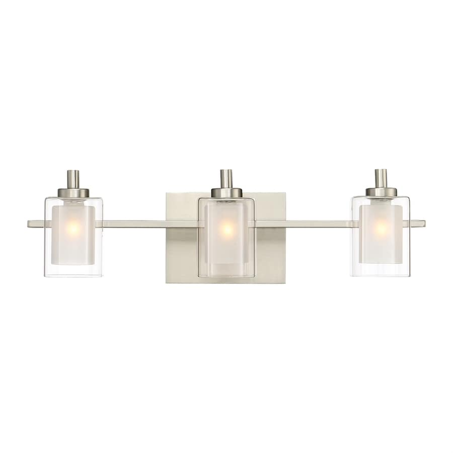 Shop quoizel kolt 3 light 6 in brushed nickel cylinder for 3 light bathroom light