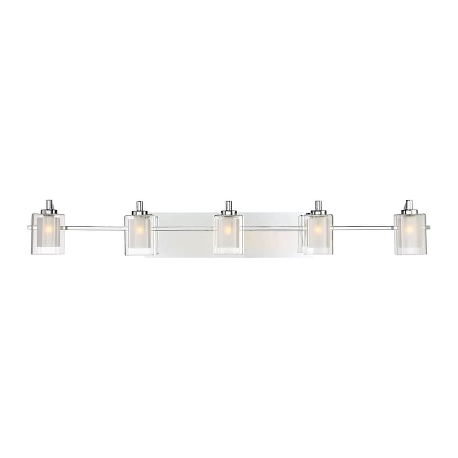 Shop Quoizel Kolt Light In Polished Chrome Cylinder Vanity - Chrome 5 light bathroom fixture